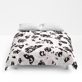 Tripple Terrazzo - Rose Pink Black & White Modern Speckle Pattern Comforters