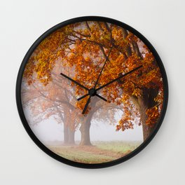 Oaks in the misty Autumn morning (Golden Polish Autumn) Wall Clock