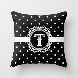 Black Monogram: Letter T Throw Pillow