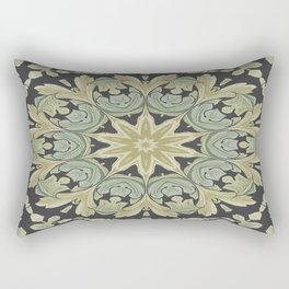 Mandala Leaves In Pale Blue, Green and Ochra Rectangular Pillow