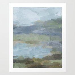 Diptych II - Sky Gray Blue Sage Green Abstract Wall Art, Painting Art, Lake Nature Print Portrait Art Print
