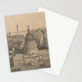 Vintage Pictorial Map of Washington DC (1864) Stationery Cards