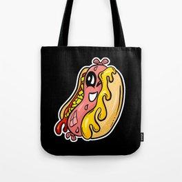 Winking Weenie Roast Hot Dog Retro Cartoon Character Tote Bag