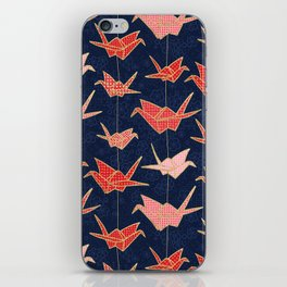 Red origami cranes on navy blue iPhone Skin