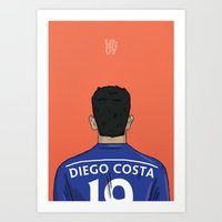 chelsea fc Art Prints featuring Diego Costa Football Back Chelsea FC by Mark McKenny