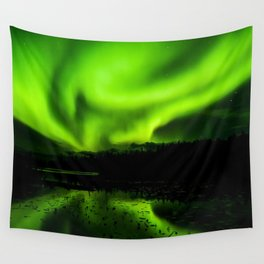 aurora borealis northern lights sky Wall Tapestry