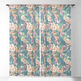 Tropical Bird Of Paradise Flowers Sheer Curtain