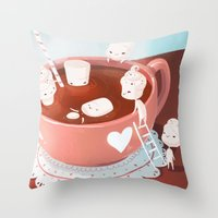 drink Throw Pillows featuring Drink by Joelle Murray