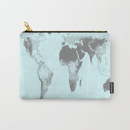 World Map : Gall Peters Aqua Carry-All Pouch