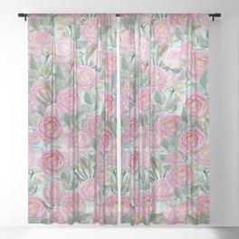Vintage Roses Mint Sheer Curtain