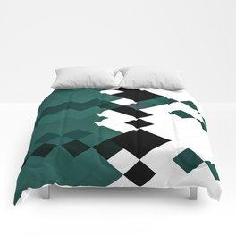 Emerald Green White Black Geometrical Pattern Comforters