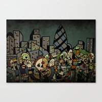 zombies Canvas Prints featuring Zombies in London by Matt Jeffs