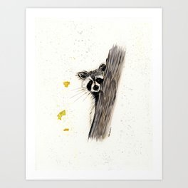 Rocky Raccoon - animal watercolor painting Art Print