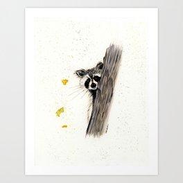 Rocky Raccoon - animal watercolor painting Art Print