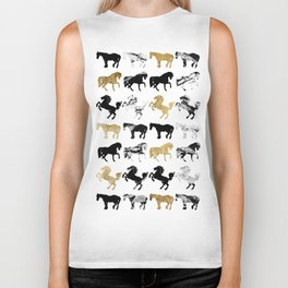 Gold and Black and White Marble Modern Horses Biker Tank