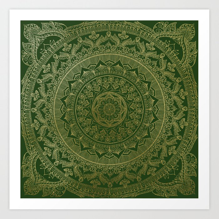 Mandala Royal - Green and Gold Kunstdrucke