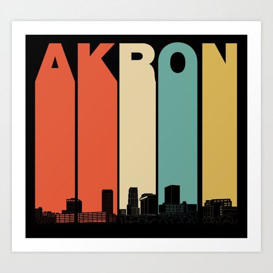 Vintage 1970's Style Akron Ohio Skyline by awesomeart