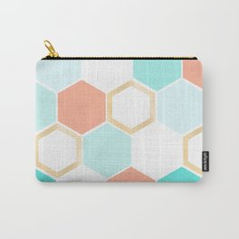 honeycomb coral & blue Carry-All Pouch