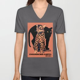 Retro vintage Munich Zoo big cats Unisex V-Ausschnitt