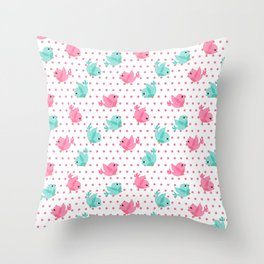 Freely Birds Flying - Fly Away Version 1 - Pink Rough Dots Color Throw Pillow