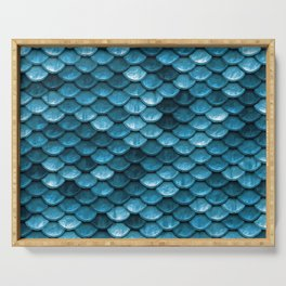 Sparkling Turquoise Mermaid Scales Serving Tray