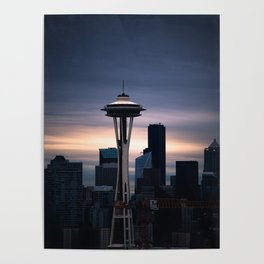 Space Needle Sunset - Seattle Nights Poster