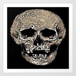 Full Skull With Rotting Flesh Vector Art Print