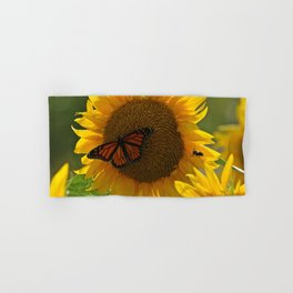 The butterfly the bee and the sunflower Hand & Bath Towel
