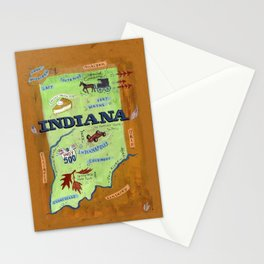 INDIANA map Stationery Cards