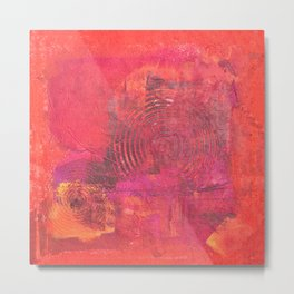 Original Textured Painting Orange and Red Metal Print