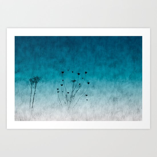 Blue Floral ~ silhouettes Art Print