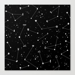 Constellations (Black) Canvas Print