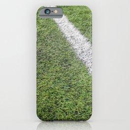 Sideline football field, Sideline chalk mark artificial grass soccer field iPhone Case