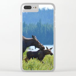 Mother moose & calf at Maligne Lake in Jasper National Park Clear iPhone Case