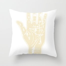 White palmistry hand Throw Pillow