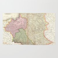 poland Area & Throw Rugs featuring Vintage Map of Poland (1818) by BravuraMedia