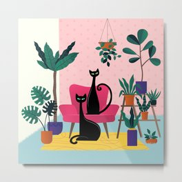 Sleek Black Cats Rule In This Urban Jungle Metal Print