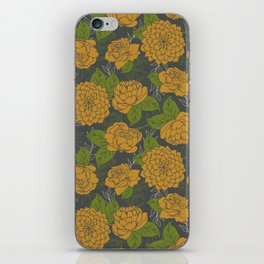 Floral Pattern in Goldenrod and Green iPhone Skin