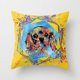 Cavalier King Charles Spaniel Abstract Mixed Media Throw Pillow