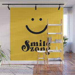 Smile Zone Smiley Novelty Typography Print Yellow Black Fun Quote Wall Mural