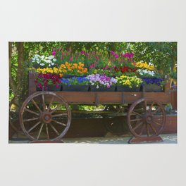 Spring Flowers in Cart Rug