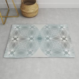 Colliding Circles in Teal and Grey Rug