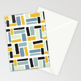 Abstract yellow black geometric modern brushstrokes  pattern Stationery Cards