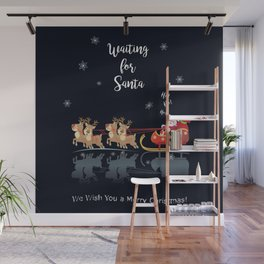 Waiting for Santa, Ho! Ho! Ho! We Wish You a Merry Christmas! Lettering. Winter Holiday Collection Wall Mural