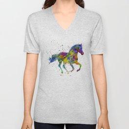 horse with multicolored fantasy Unisex V-Neck