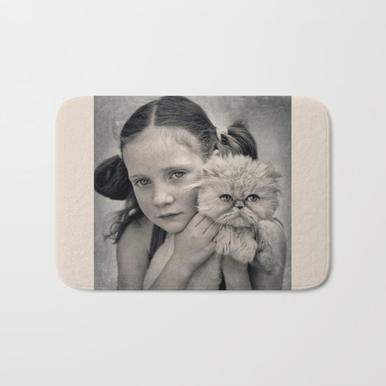 A Girl and her Cat Bath Mat