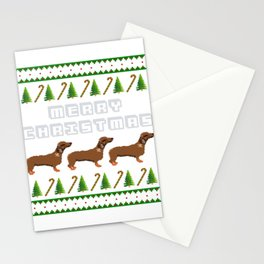 """""""Daschund"""" Christmas Dog T-shirt Design On Xmas Eve or Day Paw Paws Pet Breed Dogs Christmas Tree Stationery Cards"""