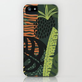 Dark sensual Jungle Patterns Tropical Leaves Exotic Plant Pattern iPhone Case