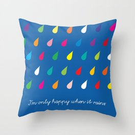 Happy Rain Throw Pillow