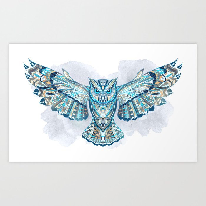 Blue Ethnic Owl Art Print